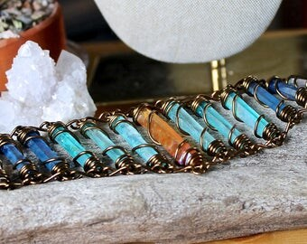 Crystal Bracelet - Gypsy Jewelry - Quartz Crystal Jewelry - Wire Wrapped Crystal - Hippie Bracelet - Bohemian Bracelet - Aura Quartz Jewelry