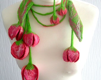 Felted Flower, Hand Felted, Wool Jewelry felted necklace/scarf/belt/earrings-CORAL FLOWERS-