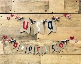 READY to SHIP USA Burlap banner americana handmade summer decor 4th of July military sign america fabric washi red white and blue