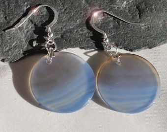 Earth and Sky- Blue and Brown Banded Agate and Sterling Silver Earrings