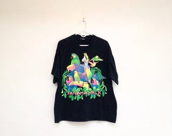 SALE Rad Vintage 1980s Panama Jack Glittery Neon Parrots T-Shirt