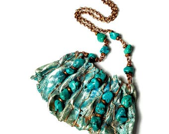 Eco Chic Turquoise Statement Necklace, Boho Necklace, Turquoise Jewelry, Repurposed Recycled Upcycled