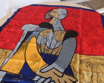 Vintage Picasso Signed  Red Beige Yellow  Blue  Gray and Black Silk large scarf   Like New Beautiful 34 x 34 inches