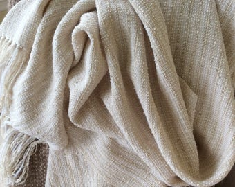 Handwoven Summer Silk Shawl Cream Natural, Silk Woven Lightweight Wrap Shawl Ecru