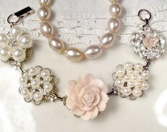 Blush Pink Bridal Bracelet, OOAK Ivory Pearl,Rhinestone, Rose Silver Vintage Wedding Earring Bracelet,Bridesmaid Gift Shabby Romantic Rustic