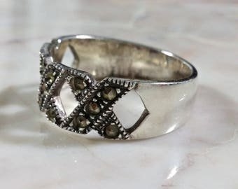 Sterling Silver Wide Band Ring Wide Triple X Design Ring Size 8 Sparkling Marcasites Adorn The Top Half Which is in the Design of Three X's