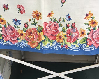 Vintage Extra long table runner, floral cotton print