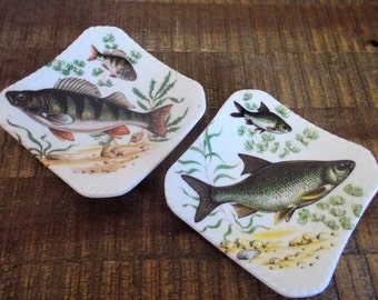 "Pair of Vintage Royal Adderley 4"" Square Bone China Fish Plates"