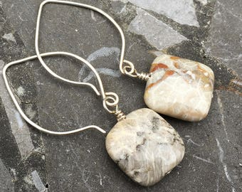 Sterling Silver Medium Hoop Ear Wires with Square Fossil Coral Earrings