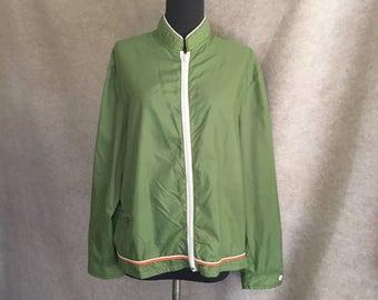 Vintage 70's Jacket or Windbreaker, Green Jacket, Women's Medium to Large, Lightweight, Bust 46