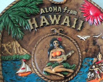 Kitsch Vintage Hawaii Plate Aloha 1960s