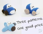 Crochet patterns amigurumi vehicles - amigurumi patterns - car, airplane and tractor stuffed toy tutorials written in US English