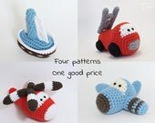 Crochet patterns amigurumi vehicles stuffed toys - fire truck, airplane, sailboat and helicopter - pdf tutorials - US English