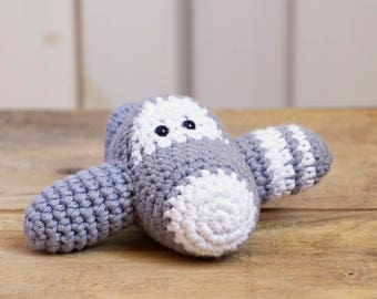 Amigurumi airplane rattle crochet baby toy - organic cotton - gray and white