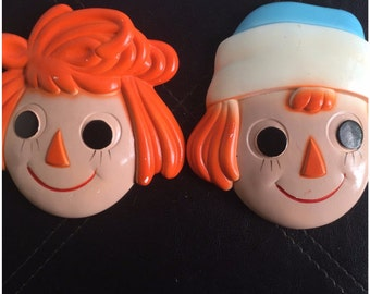 Vintage 1970s Raggedy Ann and Raggedy Andy Chalkware // Vintage Chalkware // Home Decor