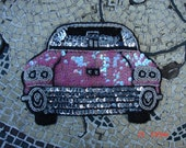 Vintage Large Pink and Silver Sequins and Beads Car Front End Applique - Very Nice