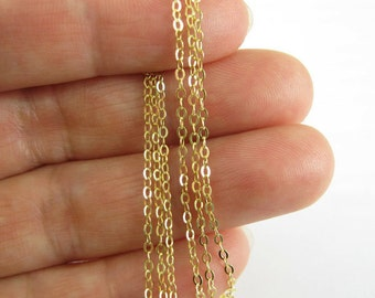 Gold Plated over Sterling Silver Chain,Wholesale Vermeil Gold Chain Bulk Unfinished, 2mm Flat Cable Oval Chain-Up to 30% Off- Sku: 101043-VM