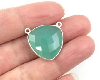 Bezel Gemstone Connector Link- Peru Chalcedony -Sterling Silver Faceted Gemstone Pendant-Large Trillion Shaped -18mm- Sku: 209114-PER (1pc)