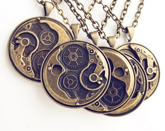 Pick 3-6 Gear Necklaces / Bridesmaids Wedding Bridal Party Gifts Favors Steampunk Post Apocalyptic Group Costume Cosplay Pirate Halloween