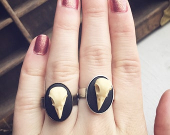 Tiny Bird Skull Cameo Ring / Adjustable Gothic Lover Gift Steampunk Pirate Costume Cosplay Post Apocalyptic Goth Curiosity Burning Man Woman