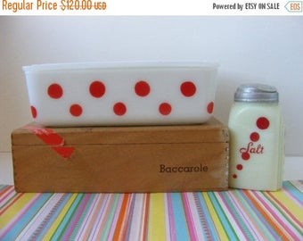 20% OFF MOVING SALE Vintage Rare Htf McKee Red Dot 8x5 Refrigerator Dish with Lid, White Milk Glass, McKee Polka Dots, Polka Dot Dish, Red D