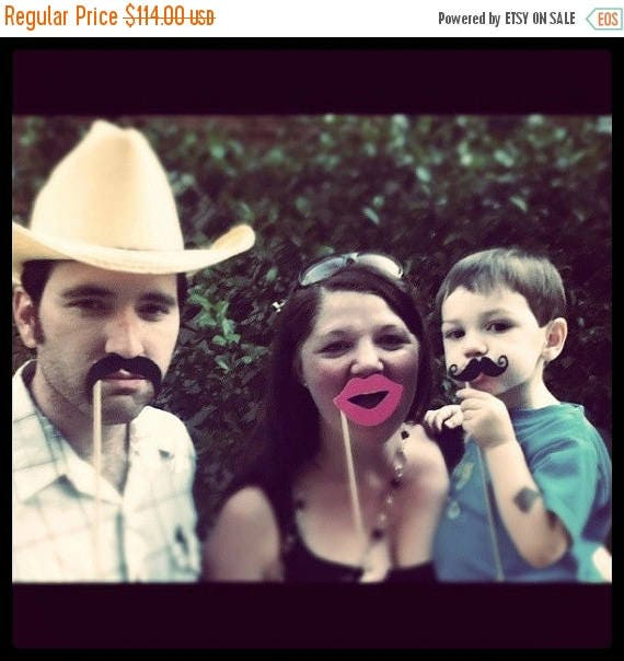 ON SALE TODAY AssWedding Set Party Set Lips and Mustaches Prop Set on a Stick Photo Booth Prop Set of 200 Assembled Set
