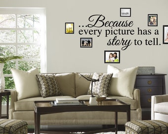 Because Every Picture Has A Story To Tell Wall Decal Quote Words Lettering Decor