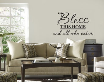 Bless This Home And All Who Enter wall decal quotes art sticker Vinyl lettering