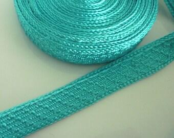 Art silk Moroccan trim, turquoise , textured trim,  5 metres