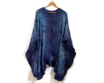 felted silk poncho, blue shawl, hand dyed