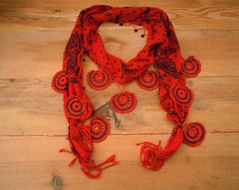 red scarf with black rose print, crochet circles, long