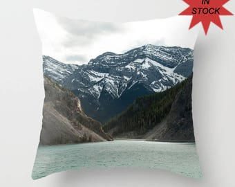 Chair Cushion Case, Rustic Mountain Lodge Masculine Bedroom Decor, Accent Pillow Covers For A Cabin, Lake House Art, Whitemans Pond Alberta