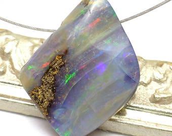 Boulder Opal Bead Pendant Australian Coober Pedy Free Form Handmade Designer One of a Kind Authentic Natural