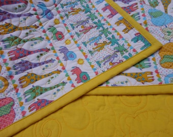 Pastel Zoo Animals Baby Quilt