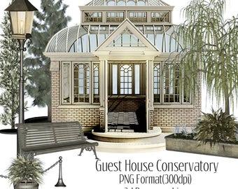 3D clip art, instant download, cu ok, conservatory clip art, 3d tree clip art, 33d graphics, 3d illustrations, scrapbooking, card making