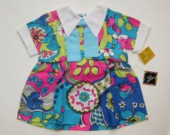 Vintage 60s Toddler Size 3X Psychedelic Acetate Little Girls Dress NOS Deadstock