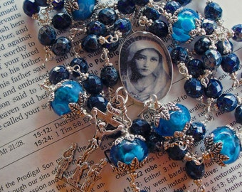 Catholic Rosary Sterling Silver Blue Unbreakable