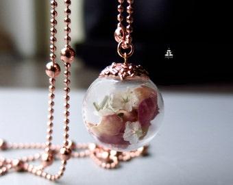 Rose gold Terrarium necklace - real rose petals