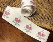 Grosgrain, One and One-Half Inch Ribbon, Spool - CUSTOM Printed Sew-in Fabric Label (light ivory and white)