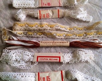 Antique Lace Vintage Lace Trim, French Laces White Yellow Brown, Insert Ballet & Dolls.6pc Vintage Wedding, Furnishings