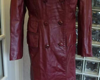 Vintage 70s 1970s Maroon Leather Coat Trench Double Breasted Princess Duster The Tannery Montgomery Ward M Medium