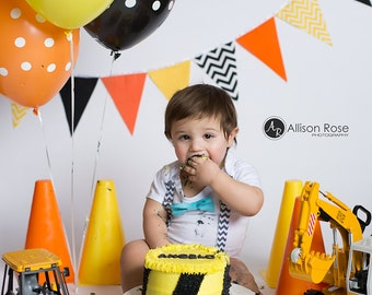Construction Banner, Bunting, Fabric Garland Pennant Flags, Orange, Yellow, Black Chevron, Polka Dot, Baby Boy Nursery Decor, Birthday