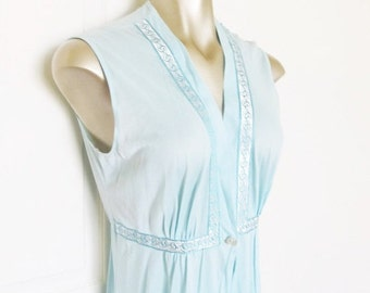 ON SALE NOW Vintage 1970's Full Length Nightgown Robe / Pastel Blue Lingerie Robe Size Medium