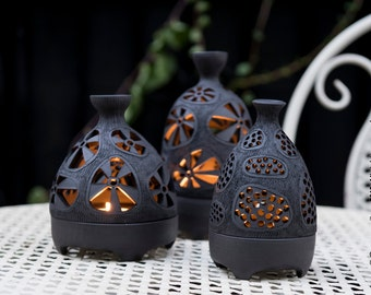 Handmade Ceramic Hobbit Tealight Candle Lantern 16-042