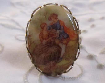 Vintage Porcelain Oval Ring with Country Scene Decor