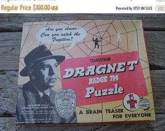 ON SALE Vintage Dragnet Puzzle game...1955