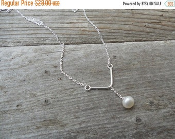 ON SALE Pearl necklace handmade in sterling silver