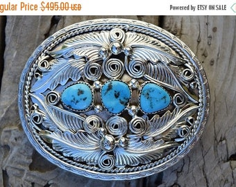 ON SALE Turquoise belt buckle handmade by an American Indian in sterling silver 925