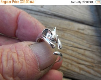 ON SALE Adjustable Mouse ring handmade in sterling silver