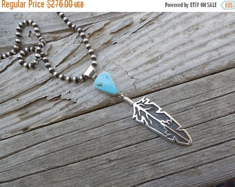 ON SALE Gorgeous turquoise feather necklace handmade and signed in sterling silver by  a American Indian silversmith